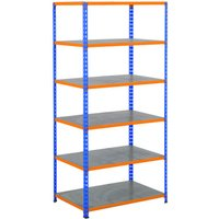Rapid 2 Shelving With 6 Galvanized Shelves 915wx1600h (Blue/orange). Find Loads More Colours, Materials & Styles Online - Buy Of