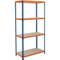 Rapid 2 Shelving With 4 Chipboard Shelves 1220wx1600h (Blue/orange). Find Loads More Colours, Materials & Styles Online - Bu