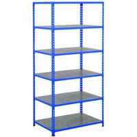 Rapid 2 Shelving With 6 Galvanized Shelves 915wx2440h (Blue). Find Loads More Colours, Materials & Styles Online - Buy Offic