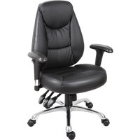 Black Porto Leather Faced Operator Chair. Find Loads More Colours, Materials & Styles Online - Buy Office Furniture Online