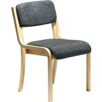 Harmony Wood Framed Stacking Side Chair, Charcoal
