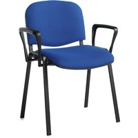 Pack Of 4 Black Frame Conference Chairs With Arms, Blue