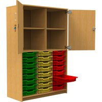 Tall Tray Storage Cupboard With Half Upper Doors, Maple/Royal Blue