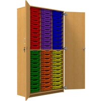 Tall Tray Storage Cupboard With 60 Shallow Trays, Beech/Royal Blue