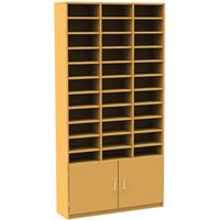 33 Compartment Pigeon Hole Unit With Cupboard, Oak