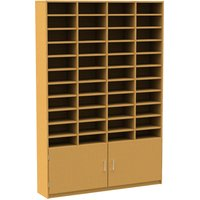 44 Compartment Pigeon Hole Unit With Cupboard, Beech