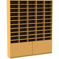 55 Compartment Pigeon Hole Unit With Cupboard, Beech