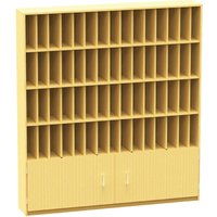 60 Compartment Pigeon Hole Post Unit With Cupboard, Beech