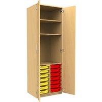 Tall Tray Storage 2 Shelf Cupboard With Full Doors, Beech/Royal Blue