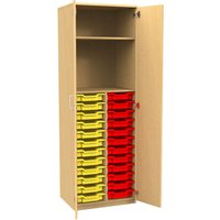 Tall Tray Storage 1 Shelf Cupboard With Full Doors, Beech/Cyan Blue