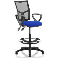 Lunar 2 Lever Mesh Back Draughtsman Chair (Fixed Arms), Blue