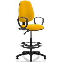 Lunar 1 Lever Draughtsman Chair (Fixed Arms), Senna Yellow