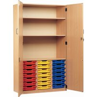 21 Tray Storage Cupboard With Full Doors, Red/Blue/Yellow
