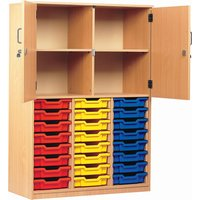 24 Tray Storage Cupboard With Half Doors, Blue