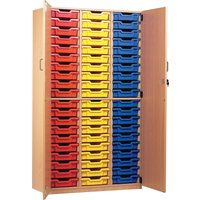 60 Tray Storage Cupboard With Full Doors, Red/Blue/Yellow