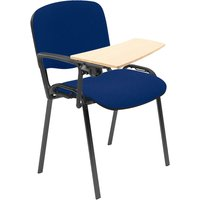Pack Of 4 Black Frame Conference Chairs With Wooden Writing Tablet, Black