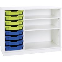 Pearl Static Combination Unit With 8 Shallow Trays and 2 Adjustable Shelves, White/Royal Blue