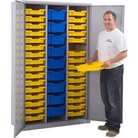 Lockable Storage Cupboard With 41 Gratnells Trays, Blue
