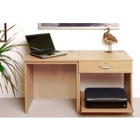 Small Office Desk Set With Single Drawer and Printer Shelf (Classic Oak)