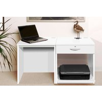 Small Office Desk Set With Single Drawer and Printer Shelf (White)