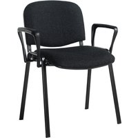 Pack Of 4 Black Frame Conference Chairs With Arms, Charcoal