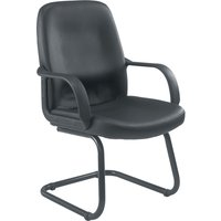 Dulce Leather Faced Visitor Chair, Black