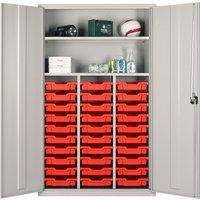 Elite Teachers Tray Storage Cupboard With 30 Shallow Trays, Blue/Blue