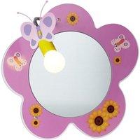 image-Novelty Pink Flower Childrens Mirror Wall Light