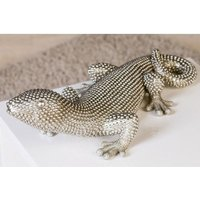 Product photograph showing Gecko Carlo Poly Ornament In Silver