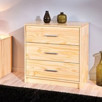 New York Solid Pine Natural Chest Of Drawers With 3 Drawers