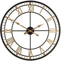image-Adney Wall Clock Round In Black And Gold Metal