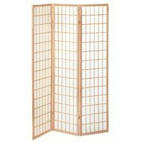 image-Wooden Folding Room Divider In Natural Finish