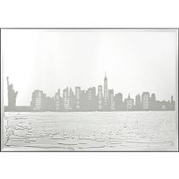 Serena Glass Wall Art In Silver With New York Design On Mirror