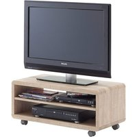image-Jeff7 Lowboard LCD TV Stand In Rough Sawn Oak With Wheels