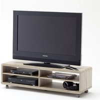 image-Jeff7XL Lowboard LCD TV Stand In Rough Sawn Oak With Wheels