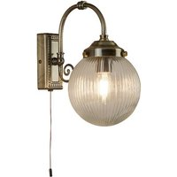 Product photograph showing Antique Brass Single Light Bathroom Wall Light In Clear Globe Sh
