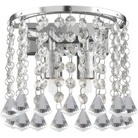 Hanna 2 Lamp Wall Light Finished In Chrome With Crystal Butt