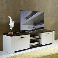 image-Hampton LCD TV Stand In Larch And Dark Havanna Oak