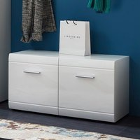 Adrian Shoe Bench In White High Gloss Fronts With 2 Doors