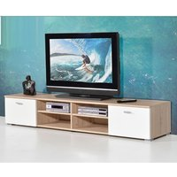 image-Contemporary LCD TV Stand For In Oak With Gloss Doors