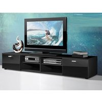image-Contemporary LCD TV Stand In Black With Gloss Doors