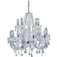 Marie Therese 12 Lamp Chrome Crystal Chandelier Ceiling Light