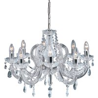 Marie Therese 8 Lamp Chrome Crystal Chandelier Ceiling Light