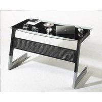 image-Pico Black And Clear Glass Top Computer Desk With Metal Legs