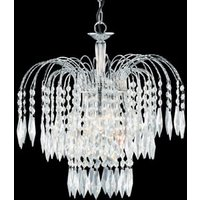 Crystal 3 Lamp Waterfall Chrome Finish Chandelier Ceiling Light