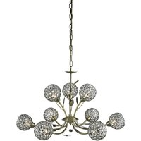 Bellis II 9 Lamp Antique Brass Ceiling Light With Crystal Balls