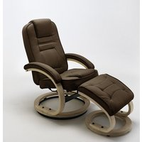 Product photograph showing Detroit Swivel Relax Chair Brown Leather And Footstool