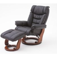 Toronto Swivel Relax Chair Black Faux Leather And Footstool