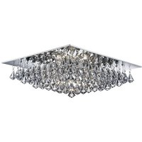 Product photograph showing Hanna Chrome 8 Light Ceiling Fitting With Clear Crystal Drops