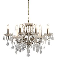 image-Antique Brass Six Light Chandelier In Clear Crystal Drops